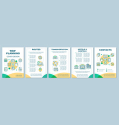 Trip planning brochure template layout vector
