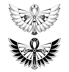 two ankhs with wings vector image vector image