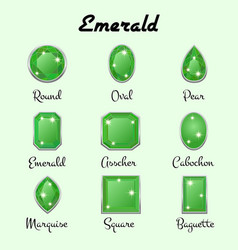 Types of cuts of emerald vector