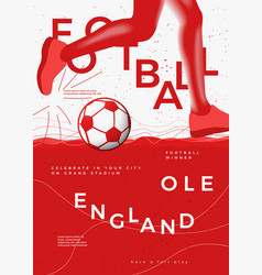 typographic england winner football poster vector image