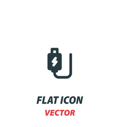 Usb charging plug icon in a flat style pictograph vector
