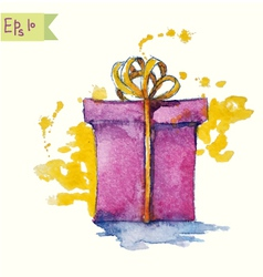 watercolor painting a gift box vector image