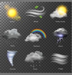 weather realistic 3d icons set sun cloud vector image