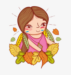 Woman indigenous with feathers and autumn leaves vector