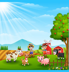 Young farmers activities with animals in farm vector
