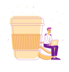 young hipster sit with laptop in hands on coffee vector image