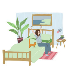 Young woman dressed in pyjamas is waking up vector