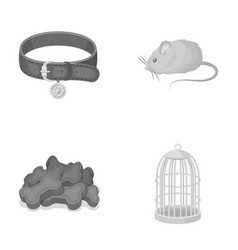a collar a forage a toy a cage and other vector image