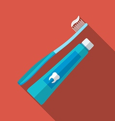 Flat design modern of tooth brush and paste icon vector image vector image