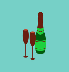 Flat on background of champagne bottle and glasses vector