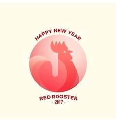 Happy new year greeting card minimalistic red vector