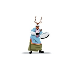 Shaman with a tambourine sign vector image vector image