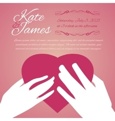 Woman and man hands with heart vector image vector image