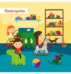 Children in Kindergarten vector image vector image