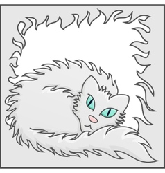 Fluffy Frame With White Fluffy Cat vector image