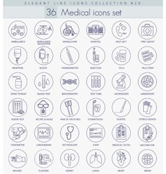 medical outline icon set Elegant thin line vector image vector image