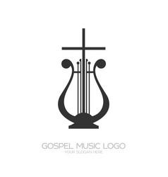 Musical logo harp and cross vector