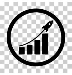 Rocket Startup Bar Chart Icon vector image