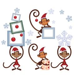 Set of Merry Christmas monkey vector image vector image