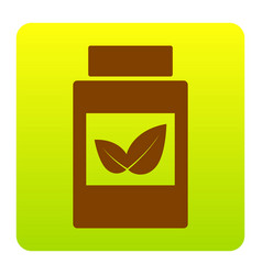 supplements container sign brown icon at vector image