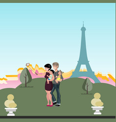 family doing selfie on vacation vector image vector image