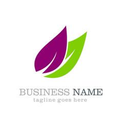 leaf organic colored logo design vector image