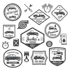 Retro Car Label Black Set vector image vector image