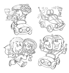 set of icons on the wedding fun vector image