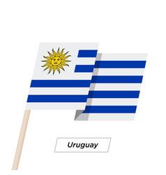 uruguay ribbon waving flag isolated on white vector image