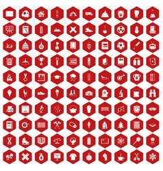100 school years icons hexagon red vector image