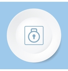 Empty white plate with lock vector