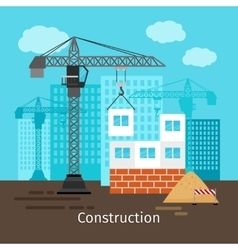 House construction with building crane vector