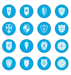 shields icon blue vector image
