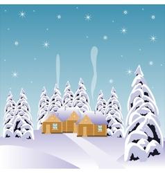 Village in snow wood vector image