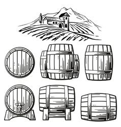 Wooden barrel set and rural landscape with villa vector