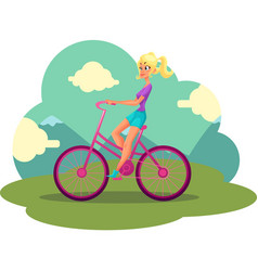 young pretty blond woman girl riding pink bicycle vector image