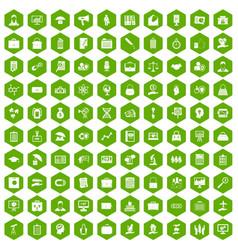 100 portfolio icons hexagon green vector