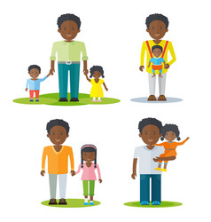 African american father with kids vector