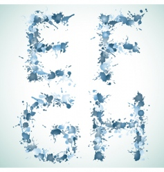 Alphabet water drop efgh vector image