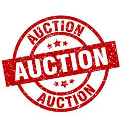auction round red grunge stamp vector image