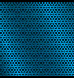 Blue metal perforated background with round holes vector