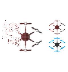 Broken pixel halftone hexacopter icon vector