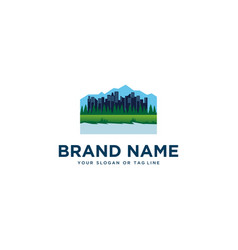 Building design in garden logo template vector