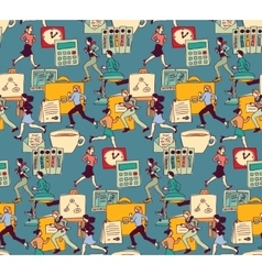 Business people work office run seamless pattern vector image