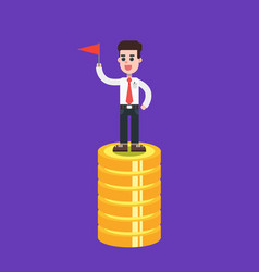 businessman on top of coins with red flag vector image