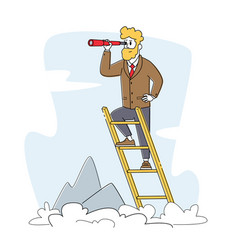 Businessman stand on ladder at mountain top vector
