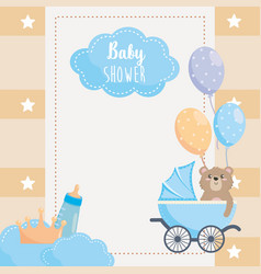 card with label and teddy bear with feeding bottle vector image