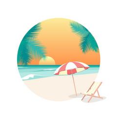 cartoon beach travel resort background card ad vector image