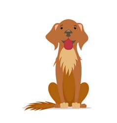 cartoon friendly big brown dog sitting straight vector image