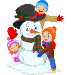 Cartoon kids playing with snowman isolated on whit vector